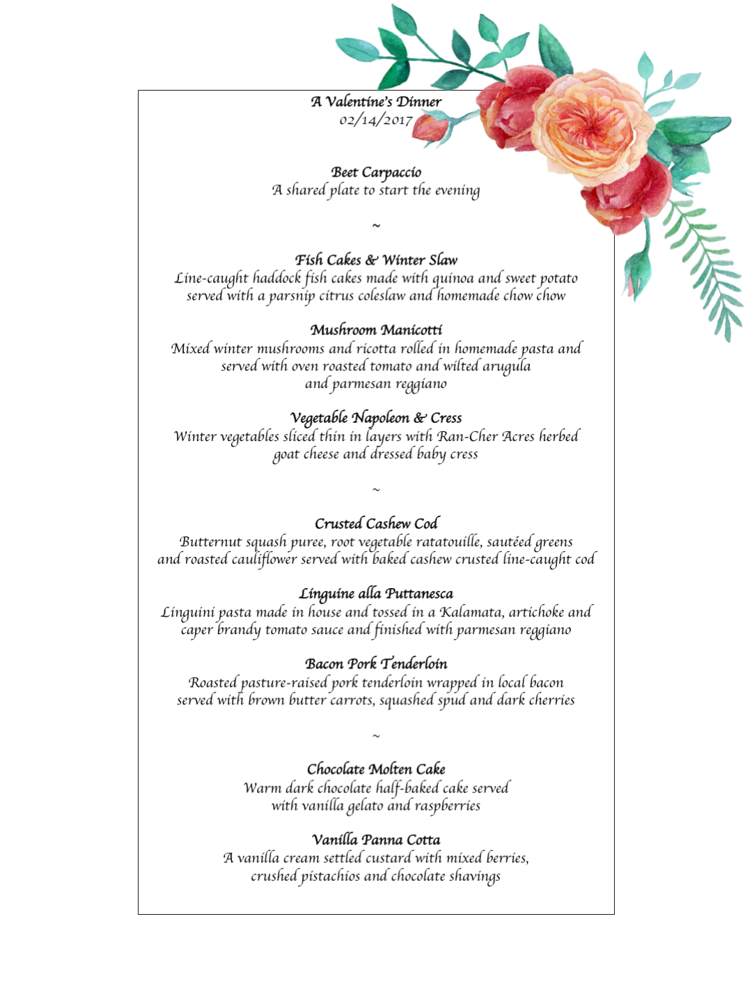 Uprooted Valentines Day Dinner 2017 Menu